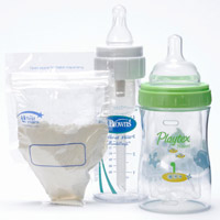 The First Years' Formula One-Shot Bags, Dr. Brown's bottle, Playtex Nurser