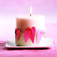 heart candle with flame