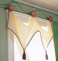 curtain with piping and tassels