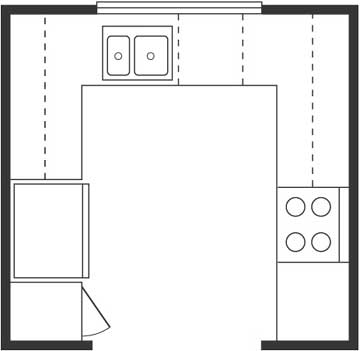 U shaped kitchen floor plan layout afreakatheart for U kitchen floor plan