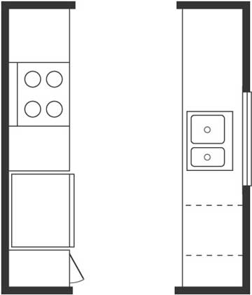 Used kitchen cabinets kitchen floor plan basics for Galley kitchen floor plans