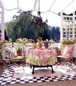 patio with large floorcloth