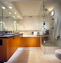 Contemporary Marble and Wood Bath