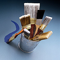 Bucket with Paint Brushes