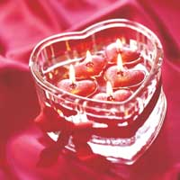 heart shaped container with candles