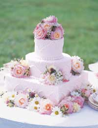 Flower-Studded Wedding Cake