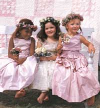 3 Flower Girls on a Bench