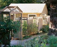 Long Stepped Fence Attached to House