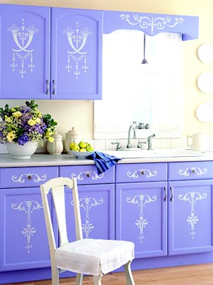 KitchensFeb05_Purple Cabinets With White Stenciling