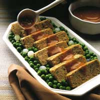 salmon loaf with tomato-dill sauce