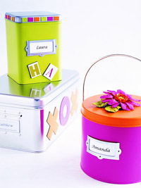 Colorful metal containers
