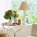 White Wrought Iron End Table With White Lamp