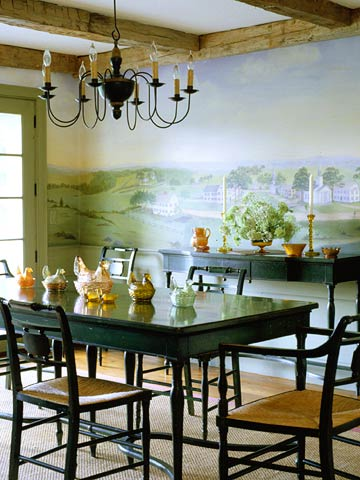 Dining Room With Landscape Wall