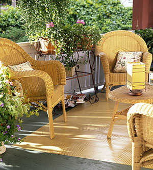 wicker furniture and floorcloth