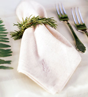 napkin with pine needle ring