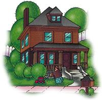 Drawing of foursquare, 2 story house with round hedges & man mowing