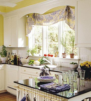 Yellow and blue floral valance over kitchen window sink