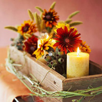 wood rectangle container with candle and flowers
