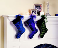 Three Stockings On Fireplace