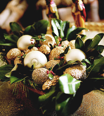 Basket With  Gold Pinecones and Greenery