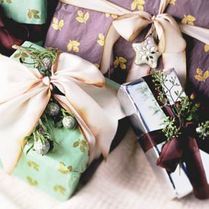 Packages Wrapped In Decorative Papers