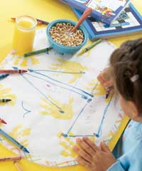 Girl Drawing on Dot-to-dot Place Mat