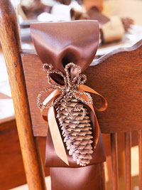 Chair Trimmed With Ribbon and Pine Cone