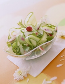 Curly Cukes and Radish Salad