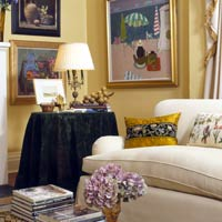 Cream Sofa With Black End Table