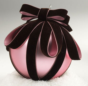 Pink ball Christmas ornament with bow