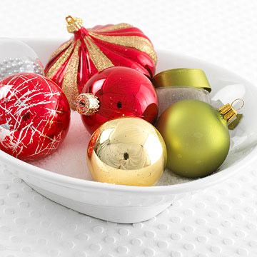 Bowl of Old Christmas Ornaments