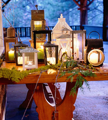 a warm welcome of mixed lanterns on table