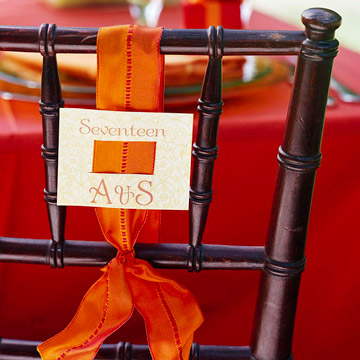 wedding place setting on chair