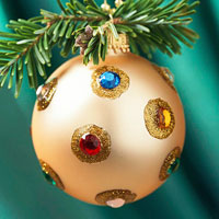 Gold ornament with jewels