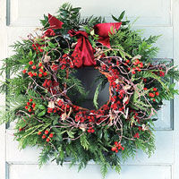 Pine and Red Berry Wreath On White Door