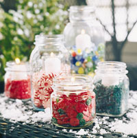 canning jar votives filled with buttons and candy