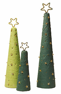 crepe paper Christmas trees with stars