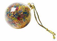 clear ornament filled with snippets of embroidery floss
