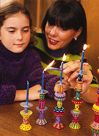 colorful candle holders