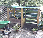 Double chamber wood compost bin with fiber glass roof