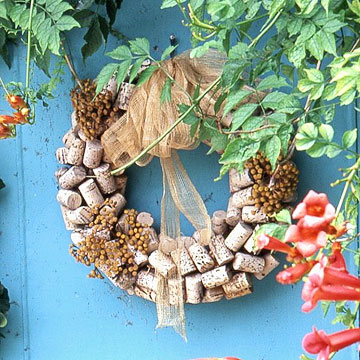 Wine cork wreath with flowers