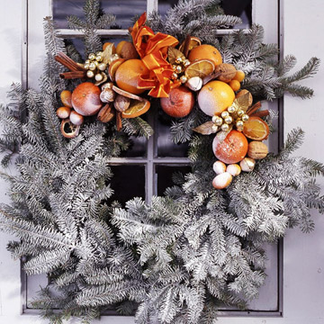 White Evergreen Wreath with Dried Fruits