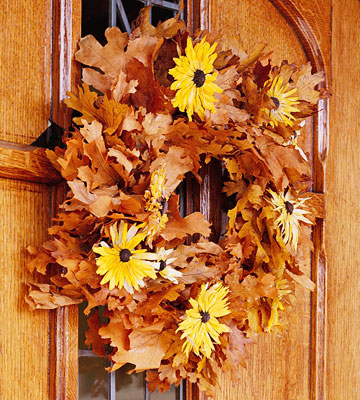 Wreath with fall leaves and sunflowers