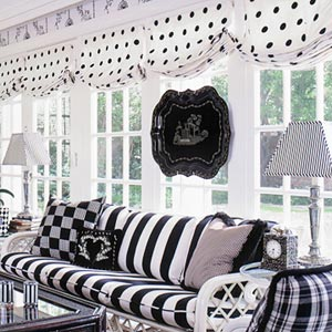 B & W living room with polka-dots and stripes
