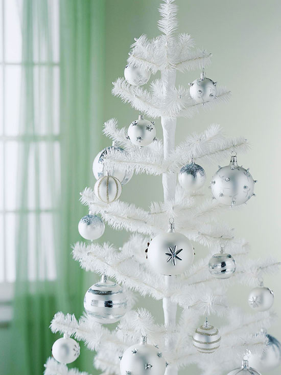 white topiary with silver balls