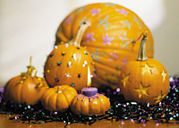 Decorated pumpkins party centerpiece