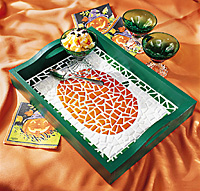mosaic pumpkin tray