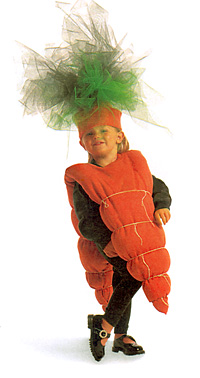 Young girl in carrot costume