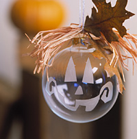 Halloween Tree Trim: Etched Glass Pumpkin Ball