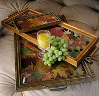 Three Autumn Leaf Trays with Grapes and Orange Juice